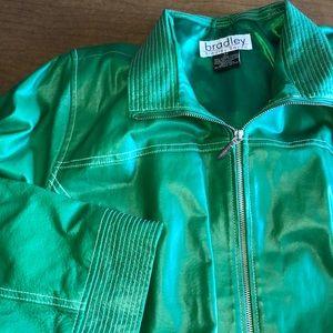 BRADLEY BAYOU Green Leather Full Zip Jacket 2X